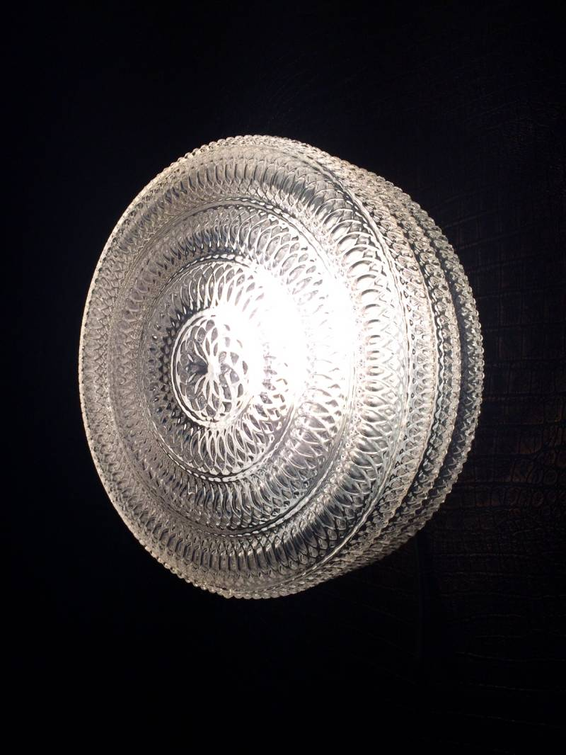 Midcentury Modern Design large Wheel Glass Sconce Wall Lamp 1970's