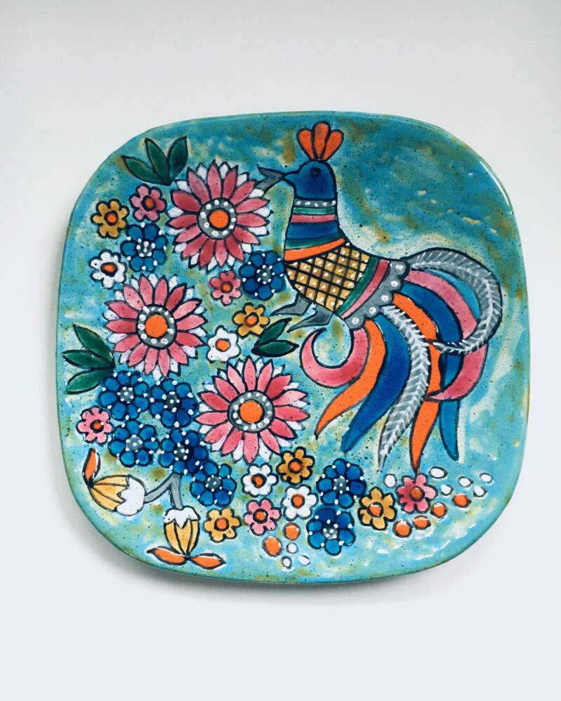 Art Pottery Hand-Painted Charger Dish by Marjatta Taburet Quimper France 1960's