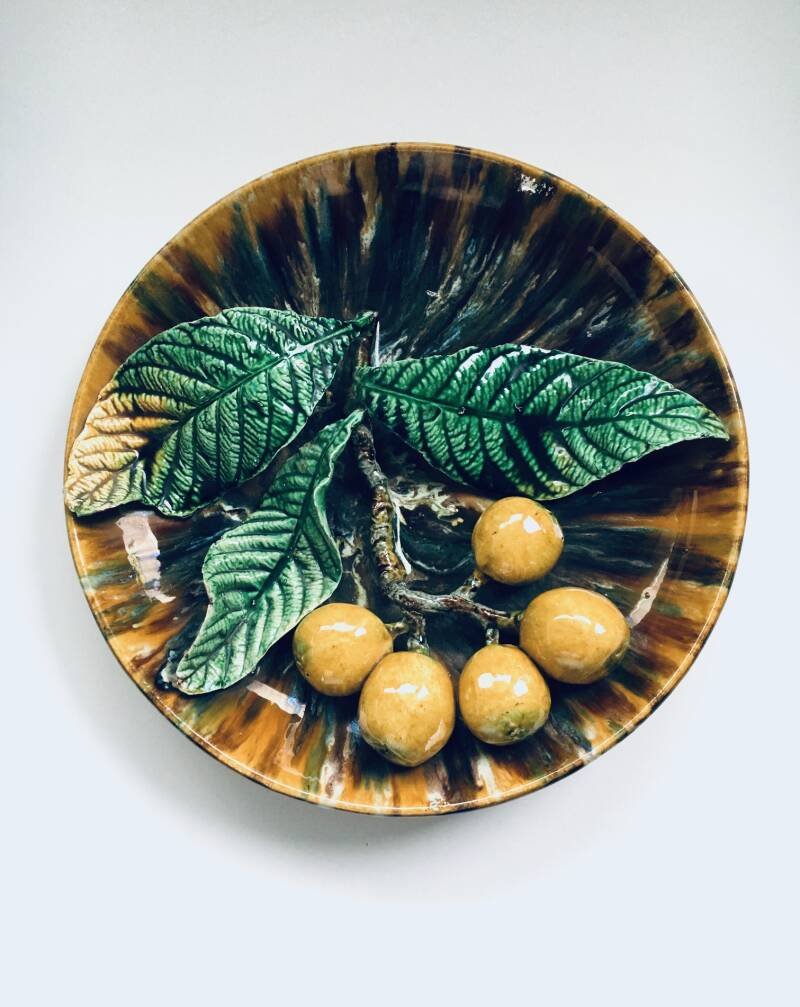 Early 20th Century Art Ceramic Barbotine Citrus Fruit Wall Hanging Plate, France 1920's