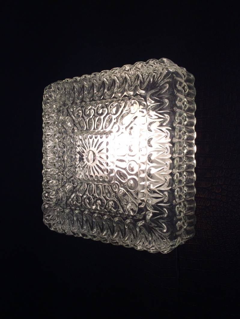 Midcentury Modern Design Square Ice Glass Wall Lamp Sconce 1970's