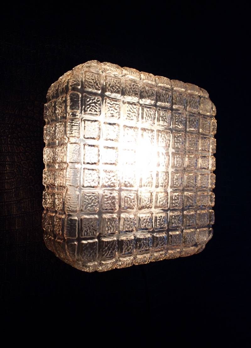 Midcentury Modern Design Square Gold Glass Sconce wall lamp 1960's
