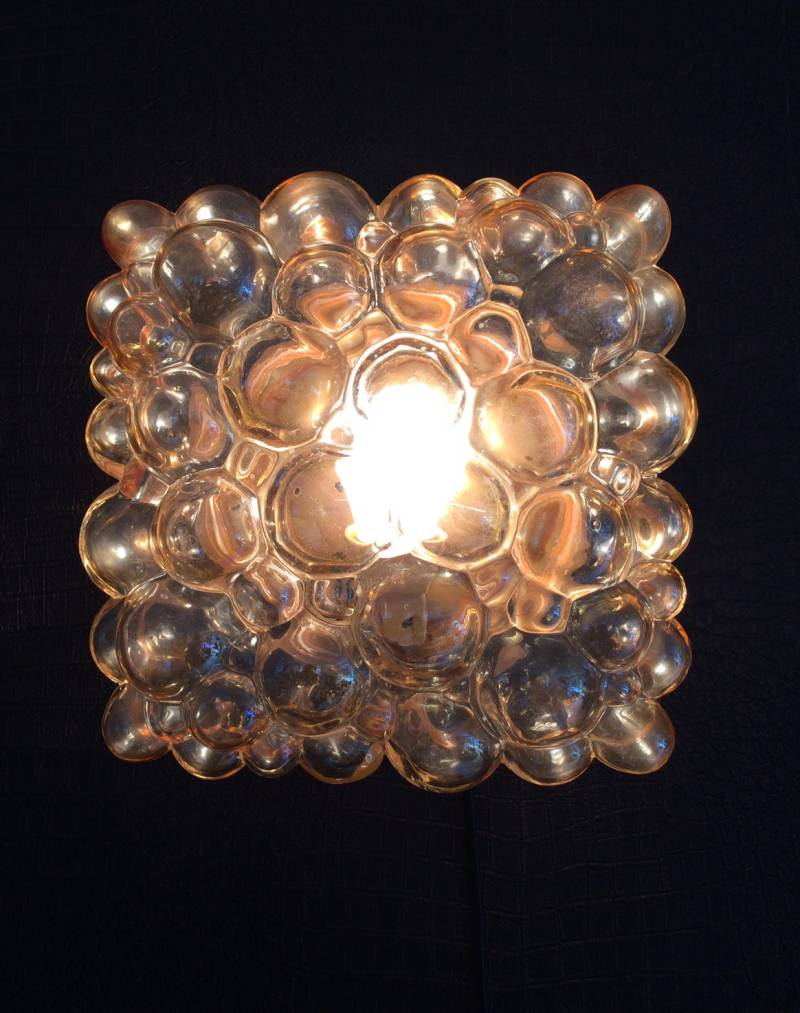 Helena Tynell Square large model Bubble glass wall lamp 1960's Glashutte Limburg
