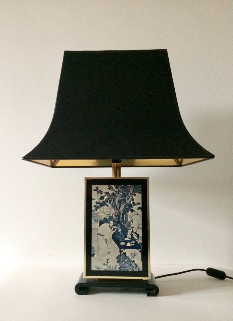Maison Le Dauphin Tu Chin Pagode Design Table Lamp France 1970's