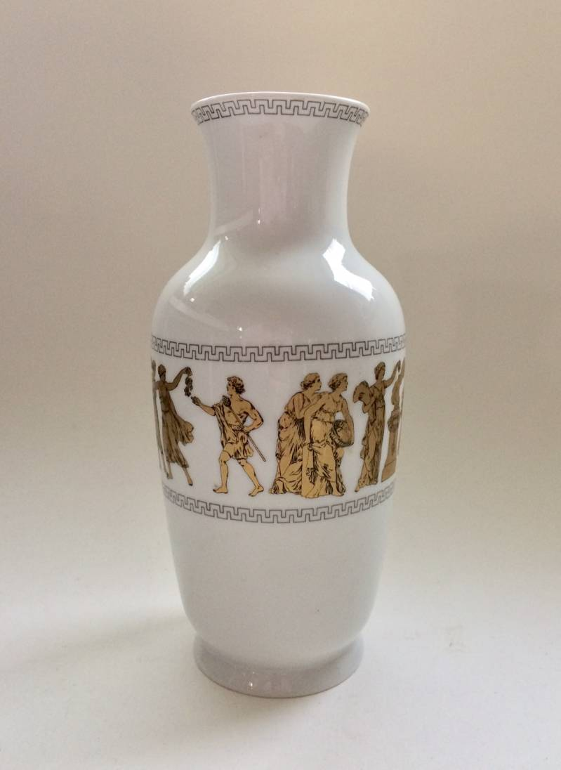 Gerold Porzellan Design Greek Classical Gold Illustrated Vase 1960's Bavaria Germany