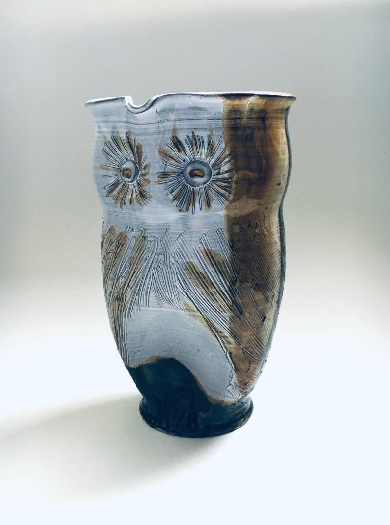 Vintage Studio Art Pottery Owl Decanter Jug by Tavares, 1970's