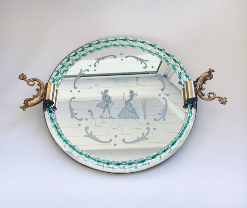 Barovier & Toso Etched Mirror Glass & Brass Tray, 1950's Italy