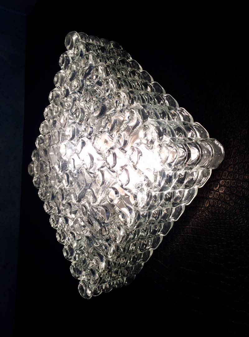 Vintage 1960's MCM Design Large heavy Glass Square Wall Lamp Sconce