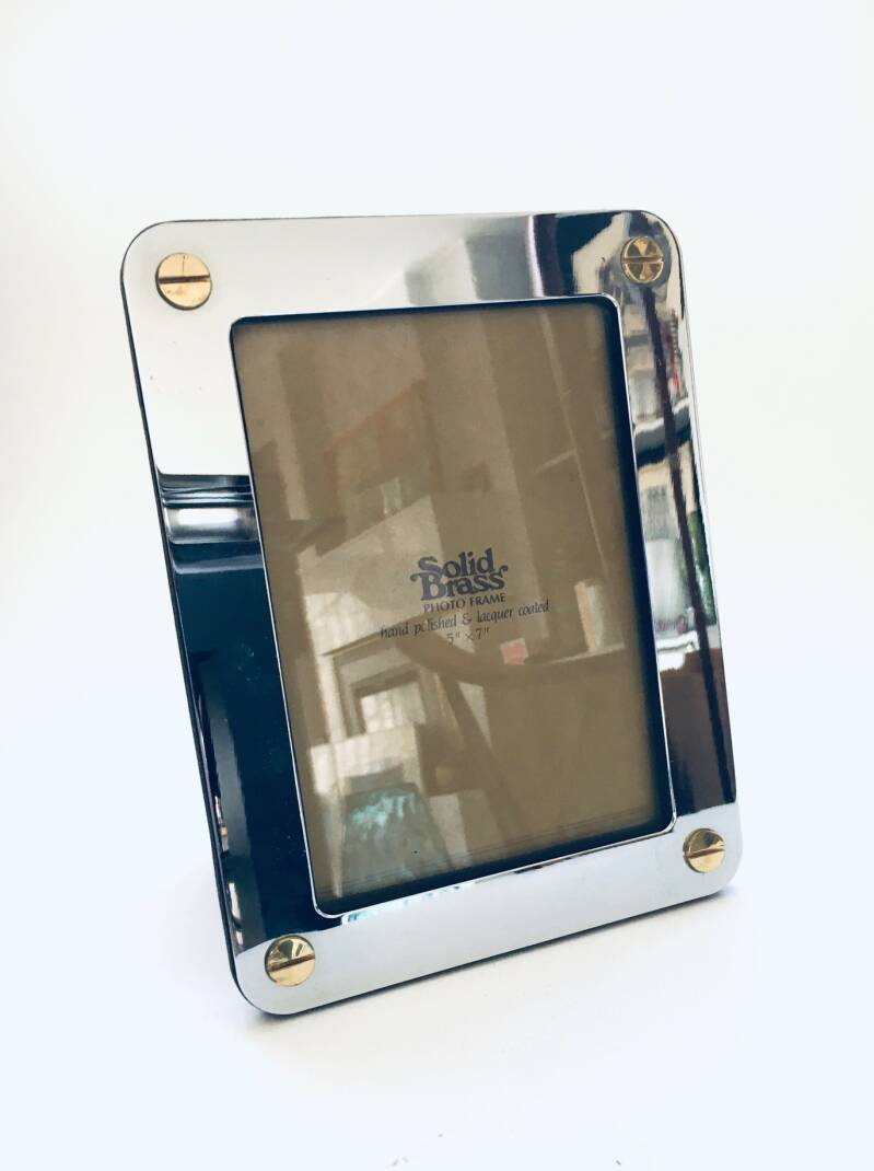 1980's Hollywood Regency Style Design Solid Brass Picture Frame