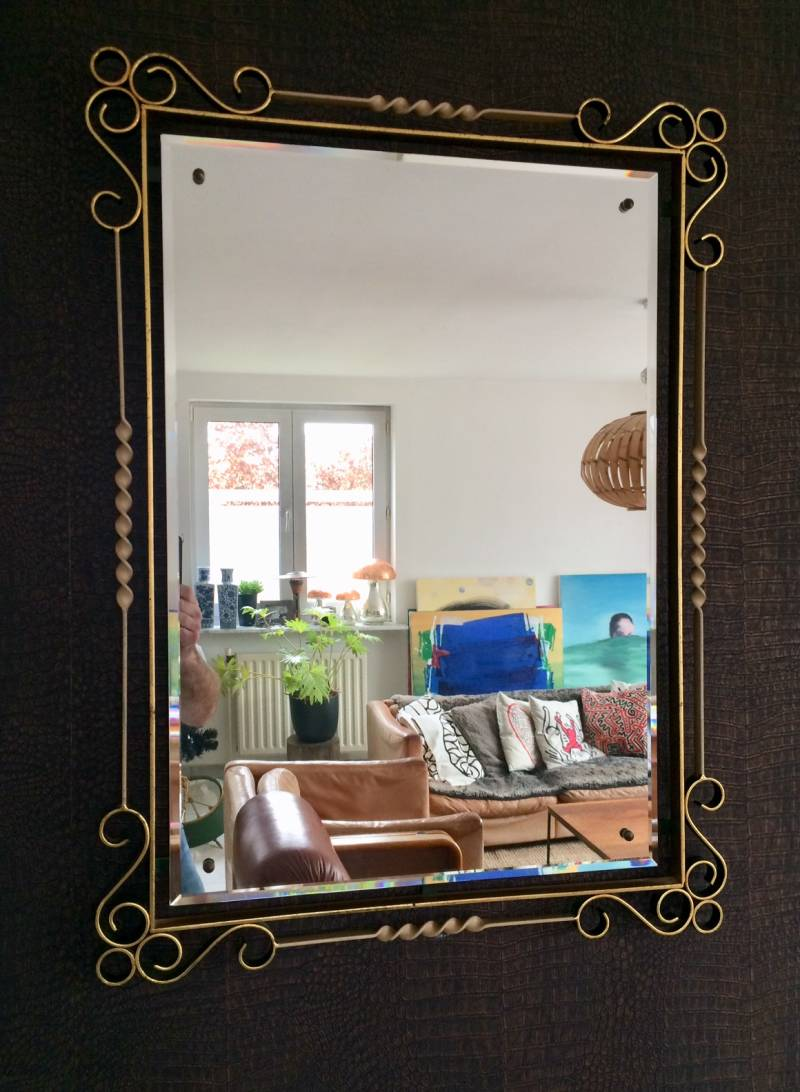 Fer Forgé Wrought Iron Design large beveled Mirror 1950's