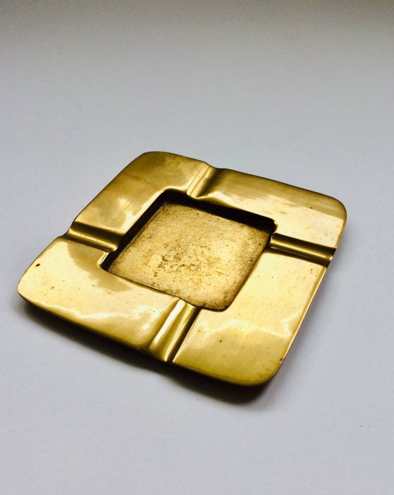 Midcentury Modern Design Solid Brass Square Ashtray 1960's