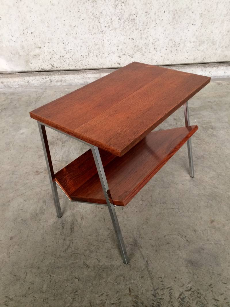 1960's Design Rosewood & Metal Magazine Holder Sidetable