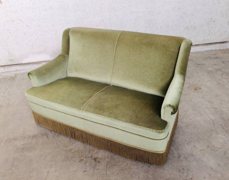Vintage 1960's Design Velvet Light Green 2 seat Sofa with fringe