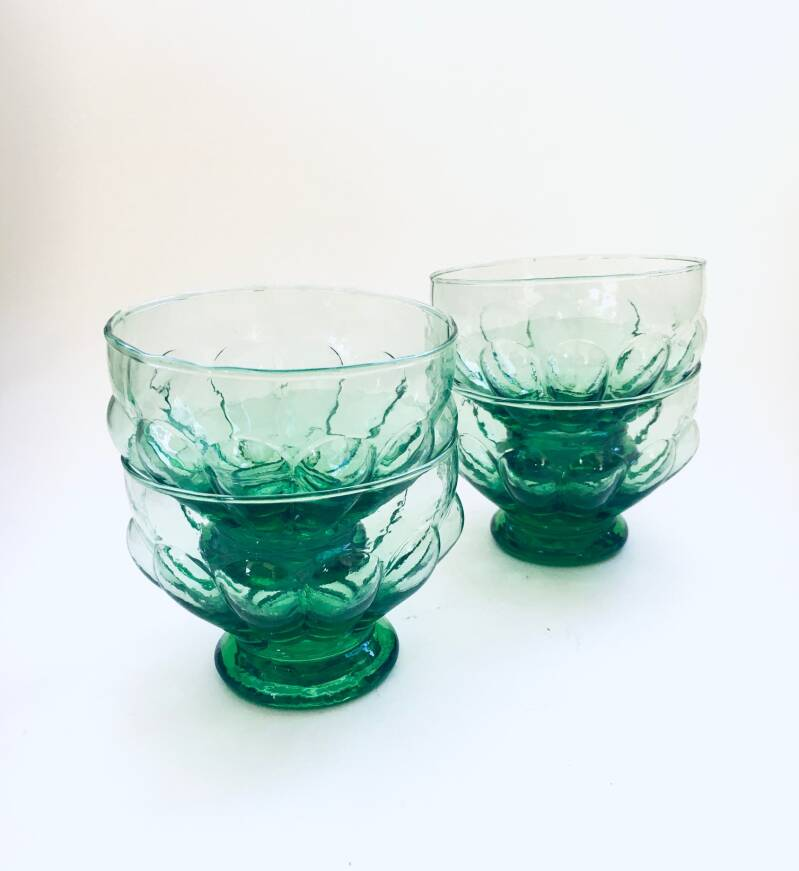 Art Deco Design Green Glass Fruit Bowl Set 1930's France