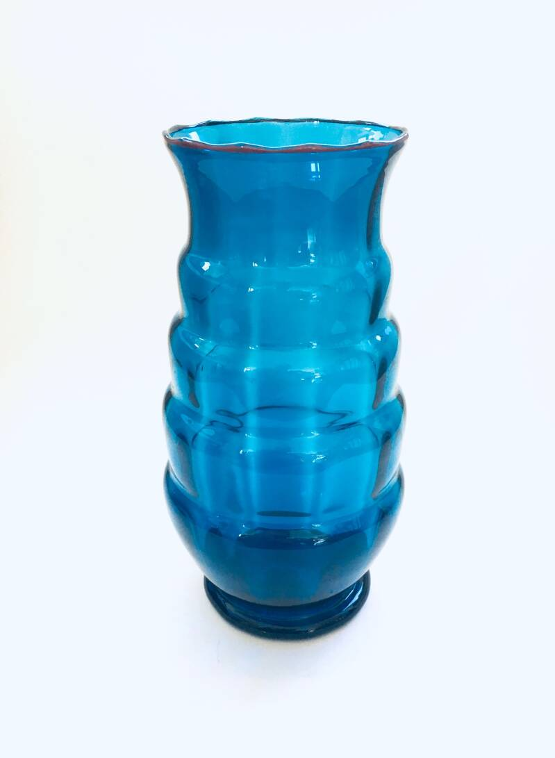 1930's Art Deco Design Blue Glass Hooped Vase w Red trim