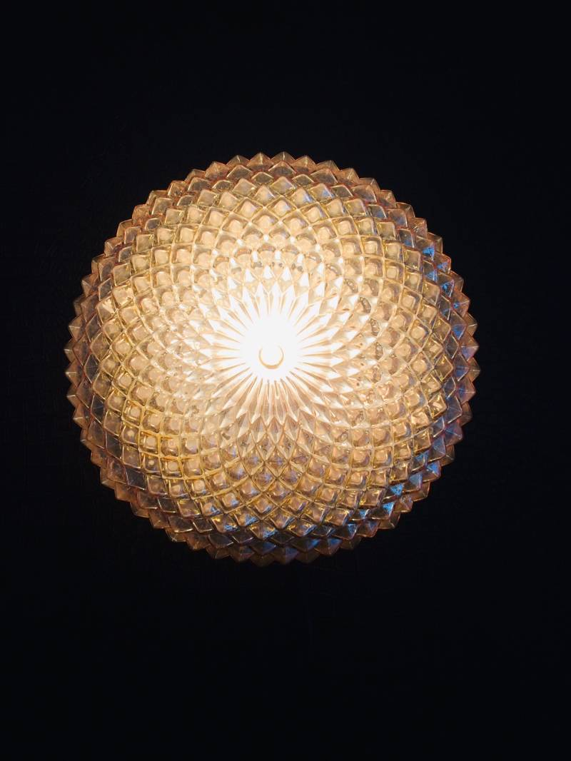 Midcentury Modern Design Gold Glass Wall Sconce lamp 1970's