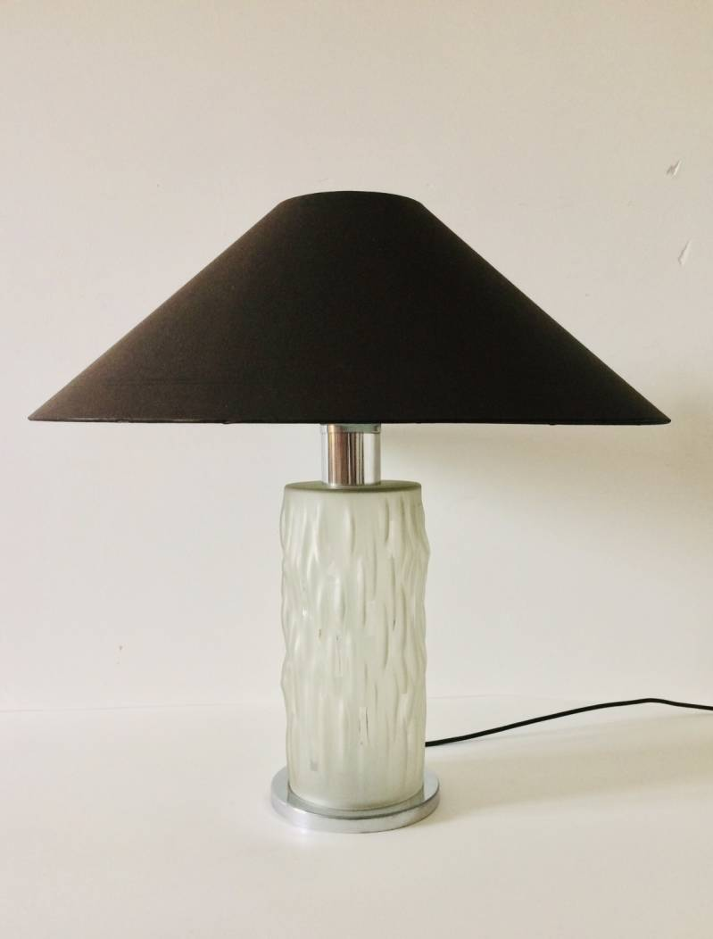 Midcentury Modern Design Art Deco Style Glass Table Lamp 1970's