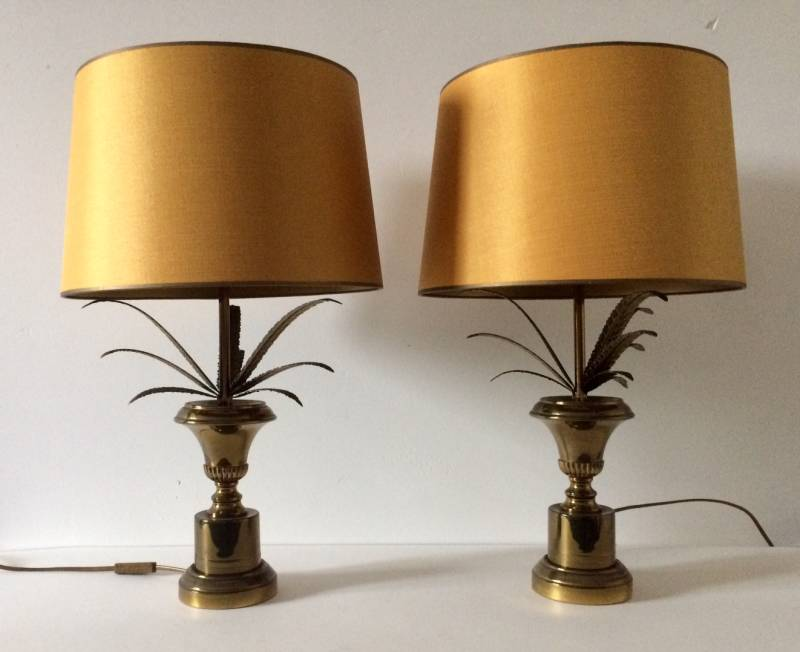 Hollywood Regency Brass Pineapple Table lamp set w Gold Lampshade 1960's