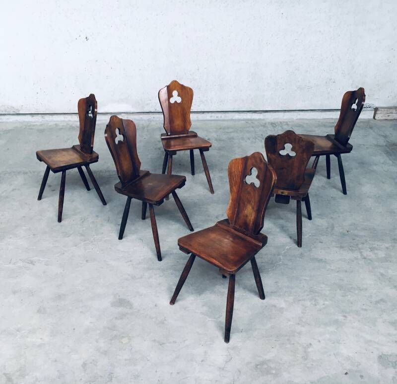 Brutalist Design Dining Chair set by Lux-Wood, Belgium 1960's