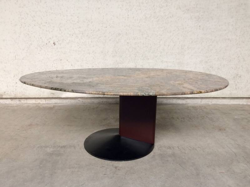 Postmodern Architectural 1980's Design Egg shape Marble Stone top dining table