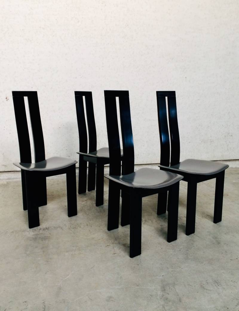 Postmodern Design Dining Chair set of 4 by Pietro Costantini 1970's Italy