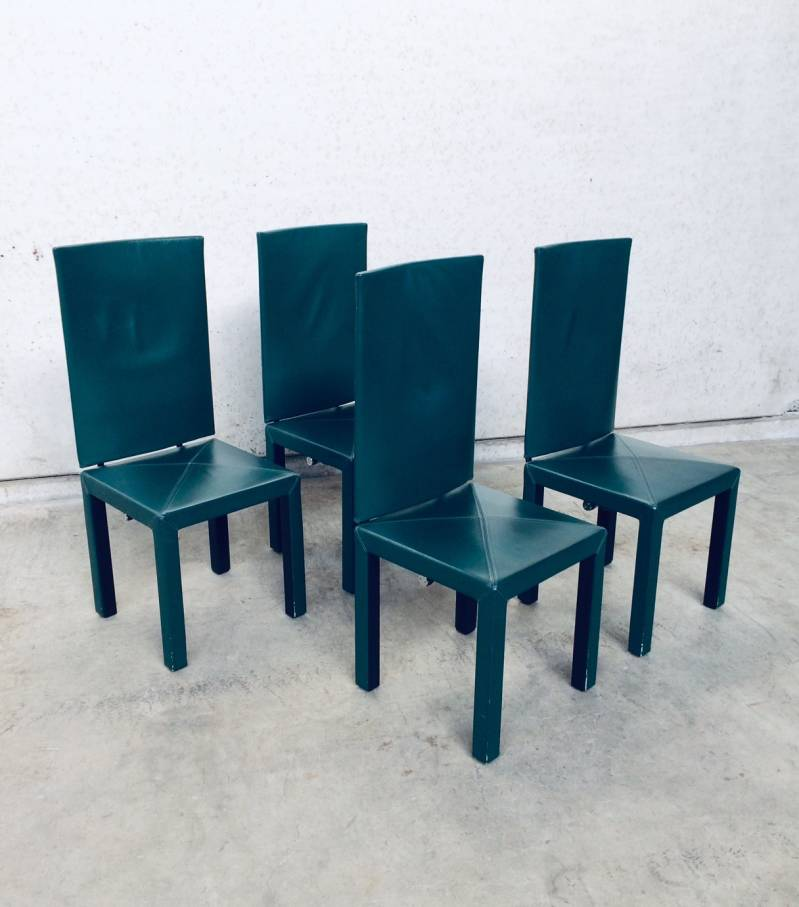 Postmodern Design B&B Italia Arcadia Arcara High Back Dining Chair set of 4 by Paolo Piva, 1980's Italy