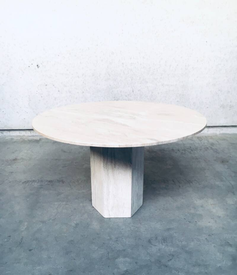 Postmodern Design Round Travertine Marble Dining Table, Italy 1970's
