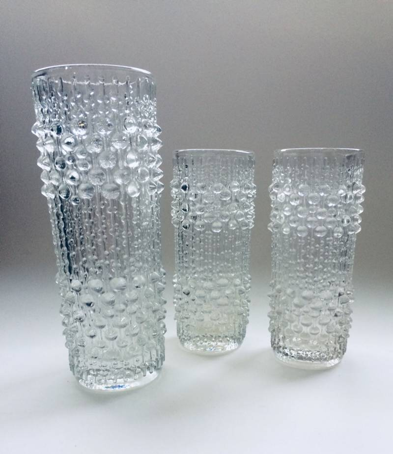 Vintage Kastehelmi Glass Vase Dew Water Drops set of 3 by Oiva Toikka for Iittala, Finland 1970's