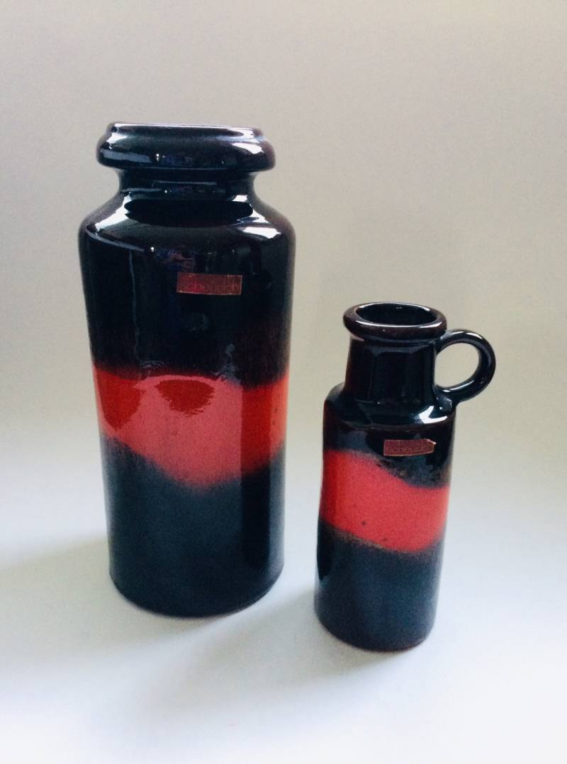 Vintage Scheurich West Germany pair of Ceramic Fat Lava Vases 1960's