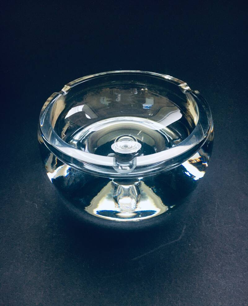 1980's Heavy Crystal Glass Ashtray Bowl by Krosno, Poland