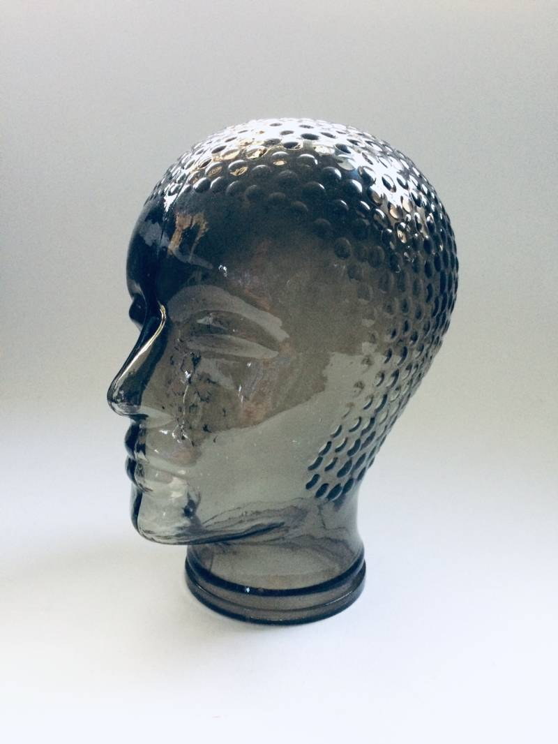 Pukeberg Sweden Smoke Glass Mannequin Head, 1970's
