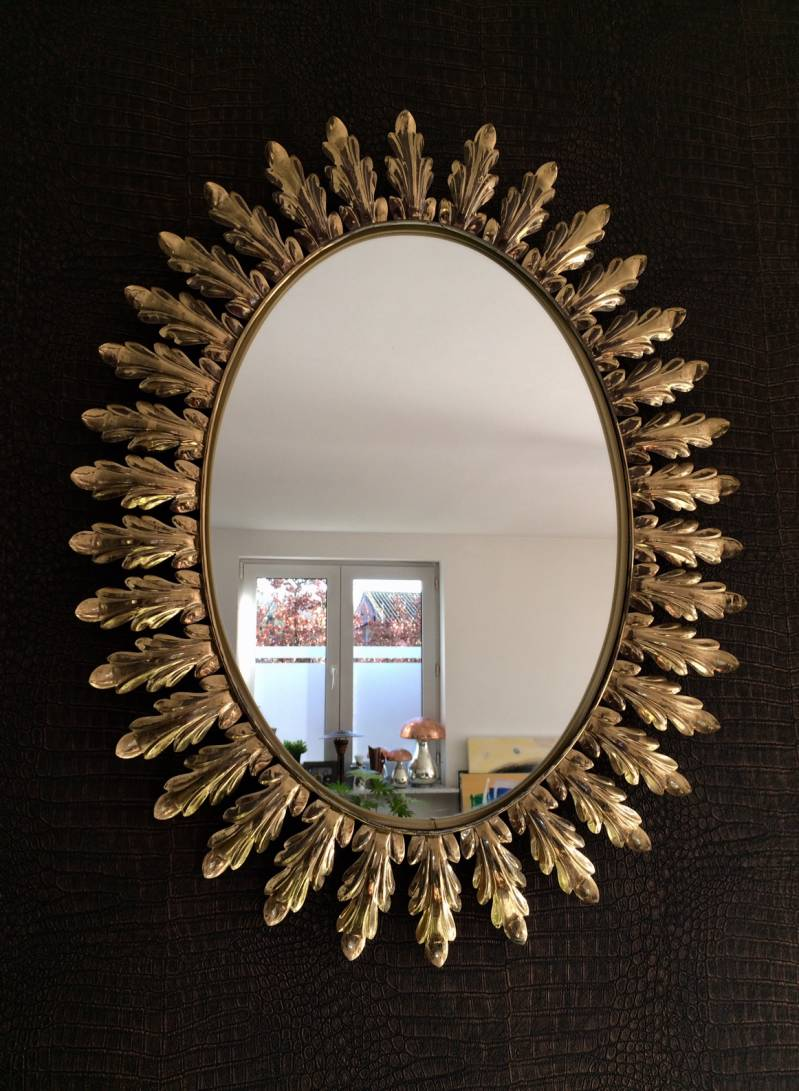 Vintage Oval Sunburst Brass Leaf Mirror by Deknudt 1950's