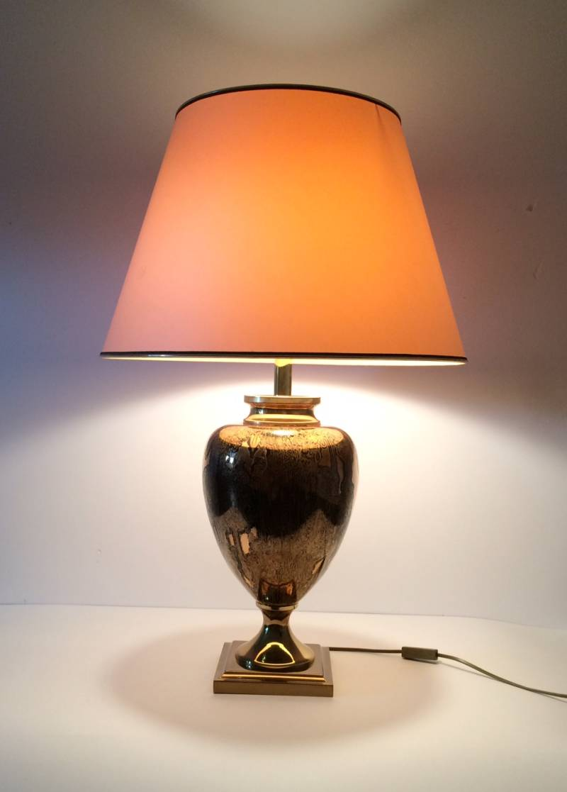 Maison Le Dauphin Large Brass patinated Amphora Table Lamp 1970's France