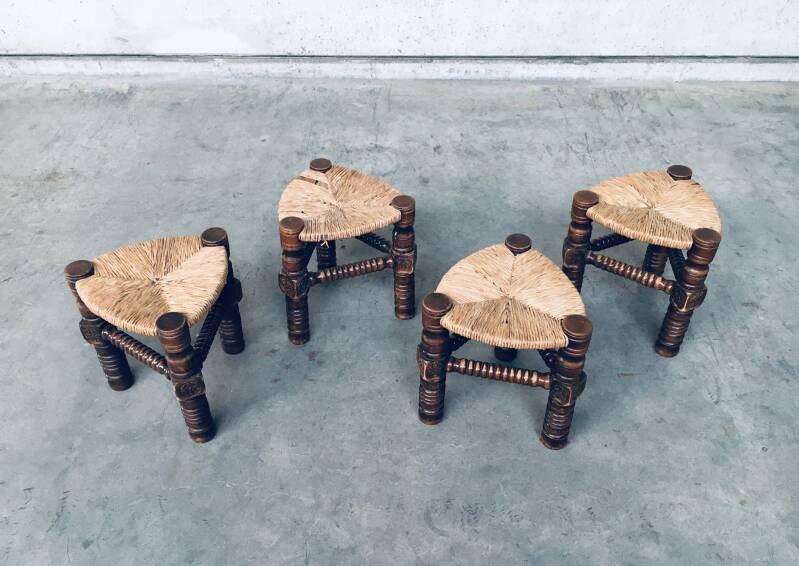 1960's Brutalist Hand Craft Made Medieval Knights Low Stool Set