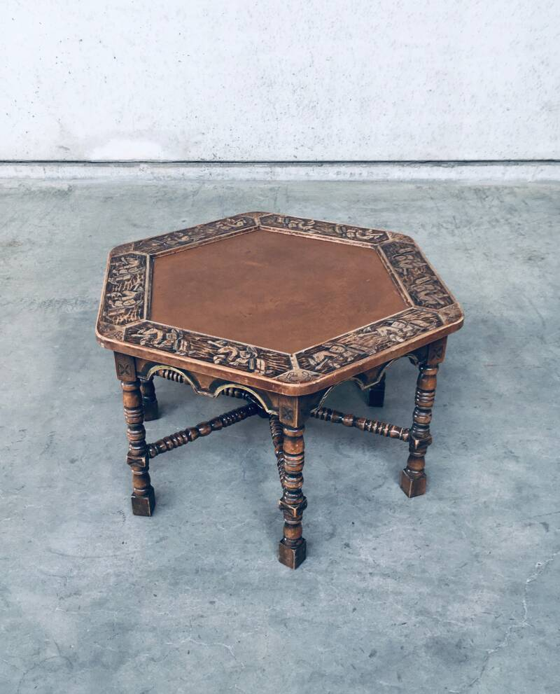 1960's Hand Craft Made Medieval Knights Coffee Side Table