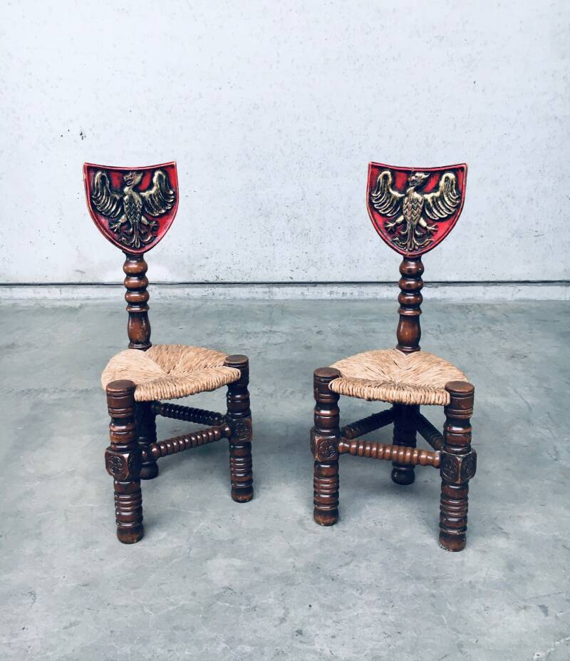 1960's Brutalist Hand Craft Made Medieval Knights Low Stool Chair Set