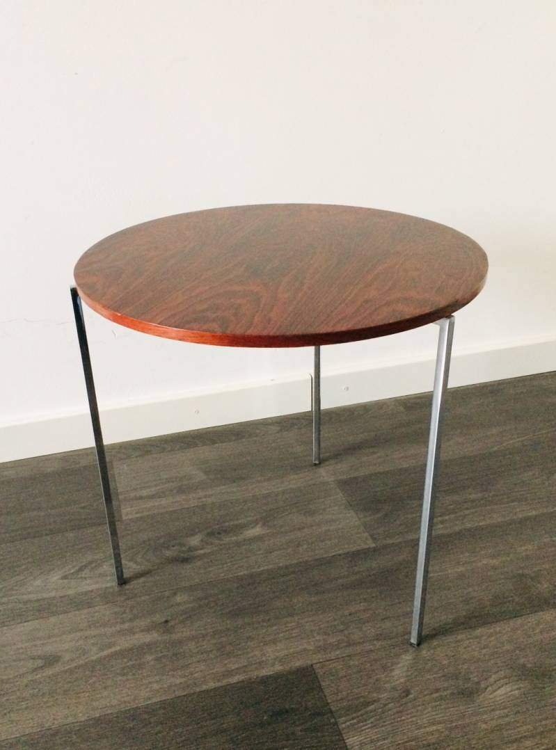 Midcentury Modern 1960's Design Sleek Palissander Top Side Table