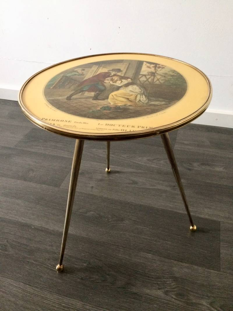 Italian Design Brass Tripod Side Table w printed top 1950's