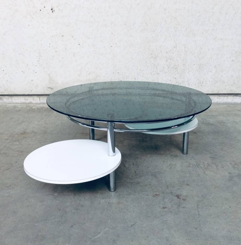 Midcentury Modern Design Smoke Glass & fold out Coffee Table 1970's