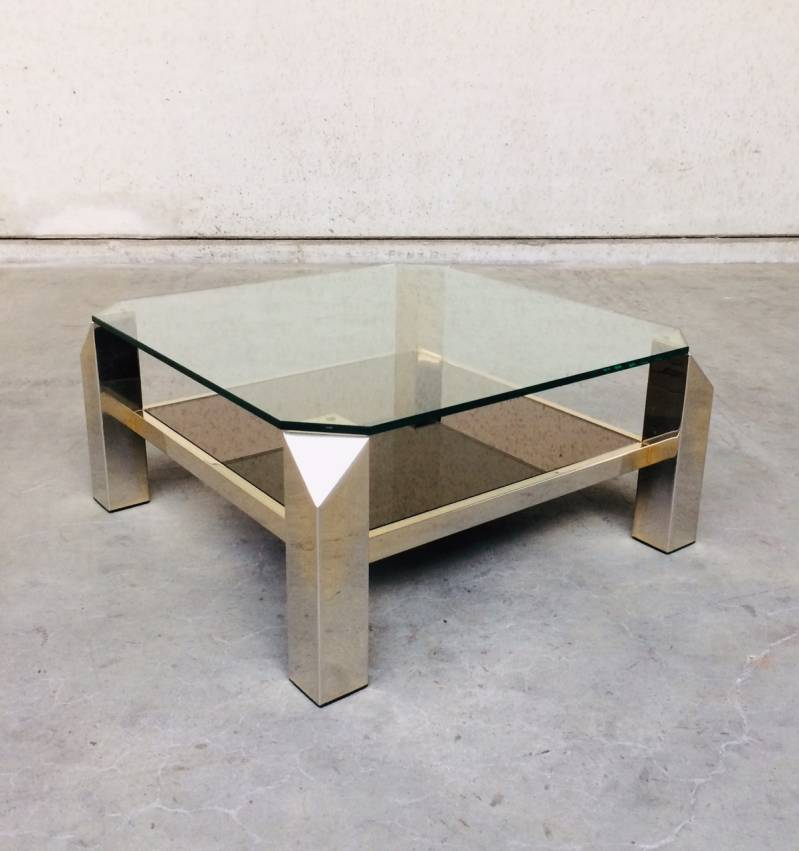 Midcentury Modern Square Brass & Glass Coffee Table by Belgochrom 1980's