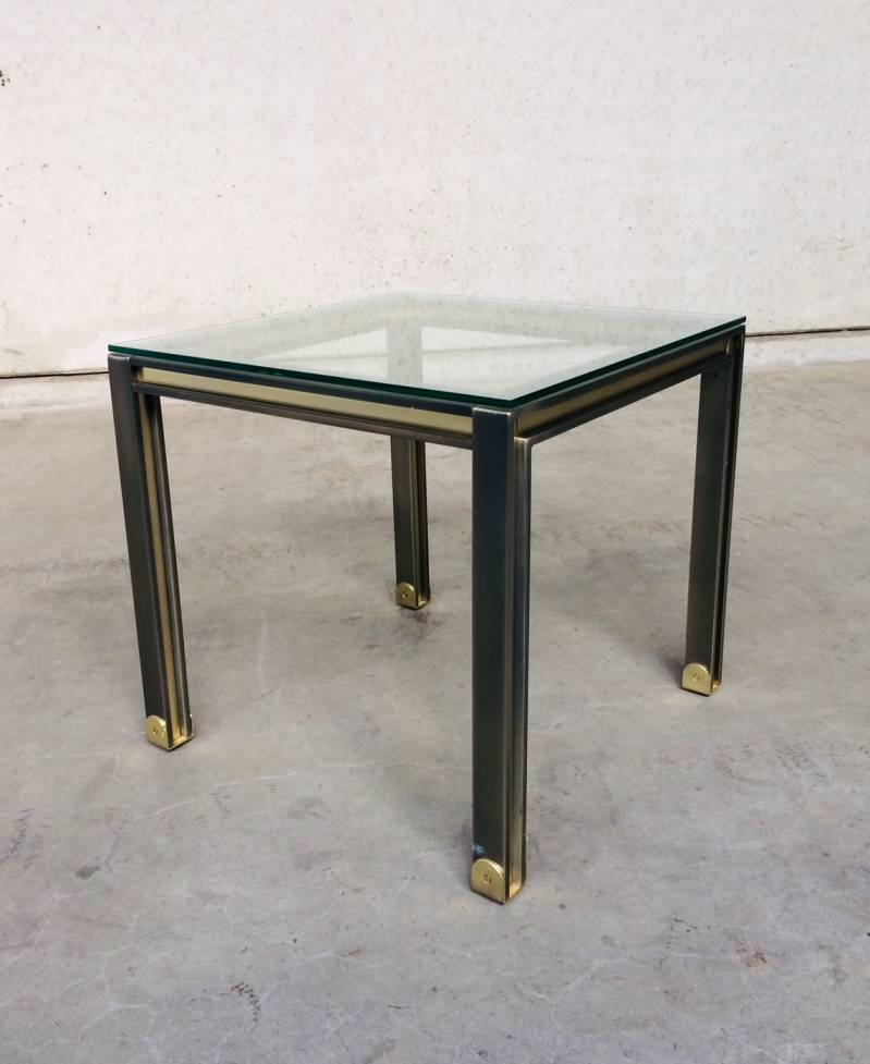 Post Modern Design brushed steel & brass square Coffee Table, 1980's Belgium