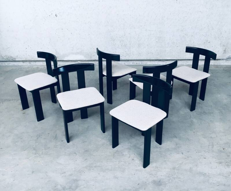 1970's Midcentury Modern Italian Design Dining Chair set by Former