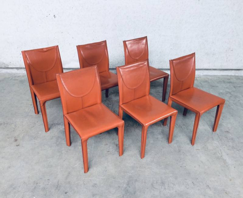 Post Modern Design set of 6 Leather Dining Chairs by Arper, Italy 1970's