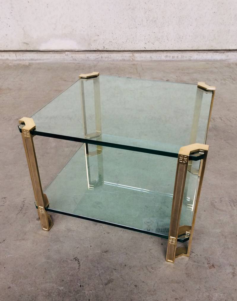 MCM Design Square Glass & Brass Side Table by Peter Ghyczy 1970's