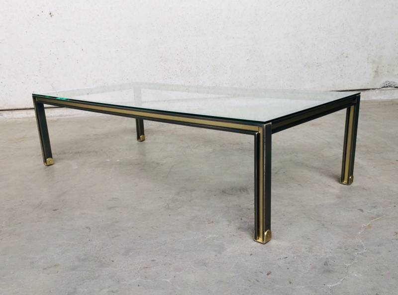 Post Modern Design brushed steel & brass XL Coffee Table, 1980's Belgium
