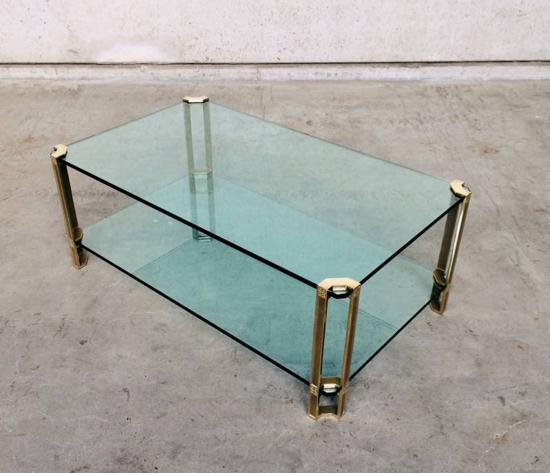 MCM Design Large Glass & Brass Side Table by Peter Ghyczy 1970's