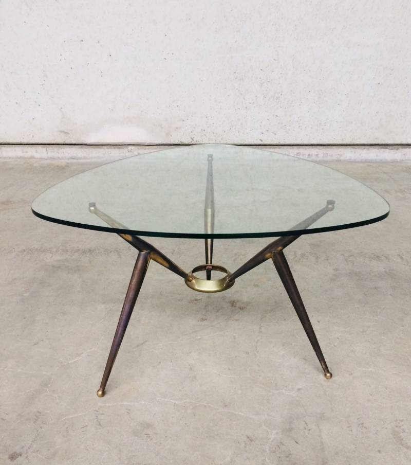 Italian 1950's Design Brass & Glass triangular Coffee Table