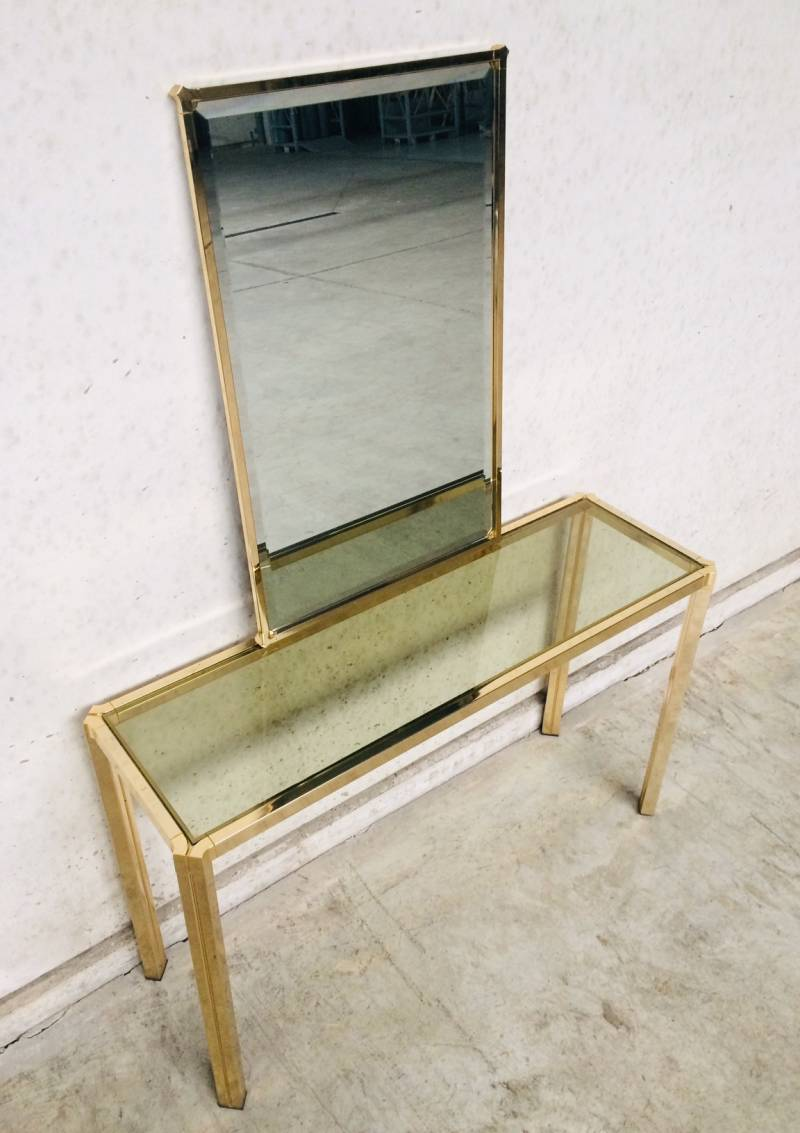 Hollywood Regency Design brass Console & Mirror Set 1970's