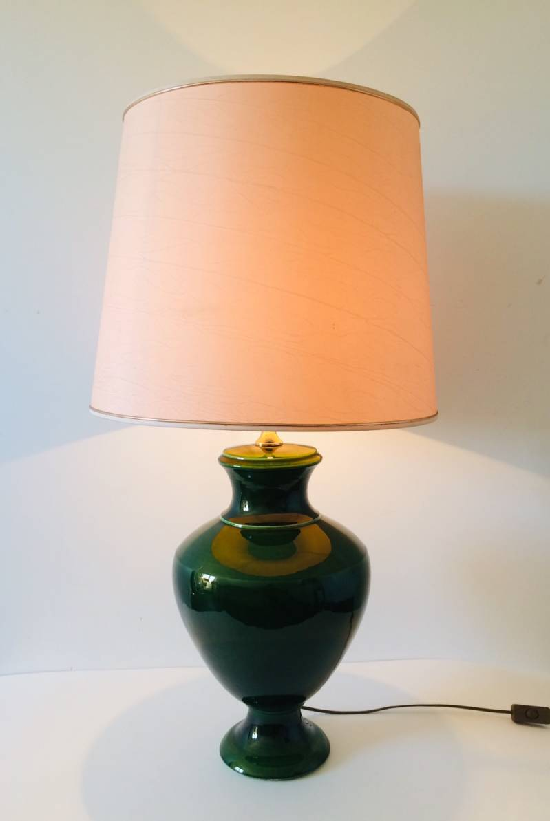 Hollywood Regency XLarge Green Ceramic Table Lamp France 1970's