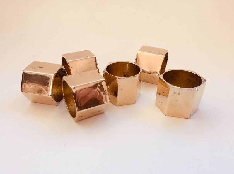 Brutalist Design Set of 6 Solid Brass Napkin Rings 1970's