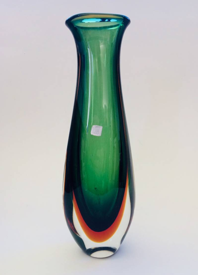 Large Art Glass Stem Vase by Flavio Poli Sommerso Murano 1960's Italy